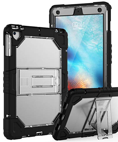 TOPSKY iPad 6th Generation Case,iPad 5th Generation Case,iPad Air Case,Heavy Duty Shockproof Rugged Full Body Hybrid Protective Cover Case for iPad 9.7 2018/2017 A1893 A1954 A1822 A1823 Clear Black