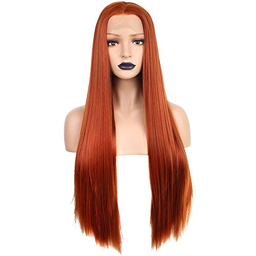 Anogol Hair Cap+24'' Orange Copper Red Lace Front Wig Silk Straight Synthetic Heat Resistant Hair Wigs for Women Half Hand Tied for Fancy Dress - Copper Orange
