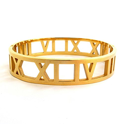 Bangle Cuff Bracelet For Women Girls, 14K Gold Plated, Premium Fashion-Forward Jewelry for Gifts (Roman Number Band Cuff (Gold - 60 Costume 80 70 Ideas