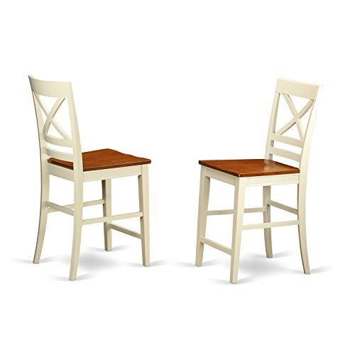 QUS-WHI-W Quincy Counter Height Stools With X-Back in Buttermilk and Cherry -Set of 2
