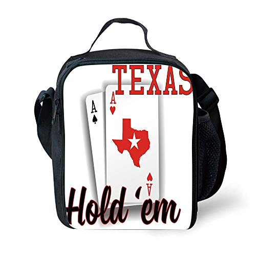(School Supplies Poker Tournament Decorations,Texas Holdem Theme Pair of Aces with Map Winning Hand Decorative,Red Black White for Girls or boys Washable)