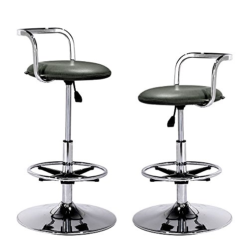 Pneumatic Bar Stool Chair With Back Footrest Height Adjustable Swivel Kitchen Counter Barstool Set of 2 Metal Base and Black Soft Synthetic Leather Upholstered By Rainbow Hong Qiao (Chrome Wide Bar Stool)