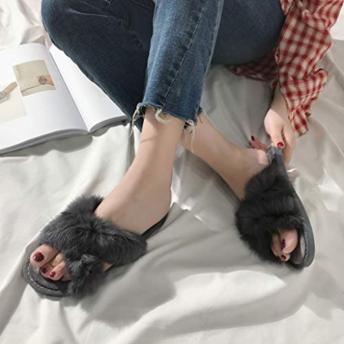 Zoucy Fuzzy Band Tongs Chaussures Rabbit Slippers Sandales Cross Femmes Flats Diapositives rq1ITwrZ