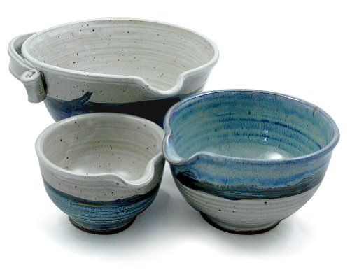 American Made Stoneware Pottery Batter Bowls, 3-Piece Nesting Set, French Blue Glaze (Set Mixing Stoneware Bowl)