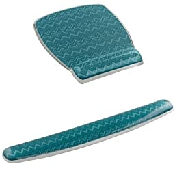 3M Mouse Pad with Gel Wrist Rest + Keyboard Gel Wrist Rest, Designer Series Green