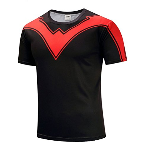 Men Slim Fit Cool Graphic Shirt Sport Running Gym Workout Tee Crewneck L - Nightwing Spider