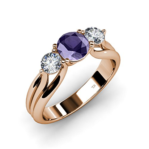 Iolite and Diamond Three Stone Ring with Thick Shank 1.34 ct tw in 14K Rose Gold.size 9.0 ()