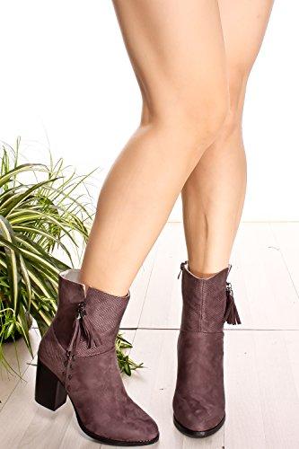 Metal Suede Round Toe Tassel Accent Lado Cremallera Chunky High Heel Botaie Gris