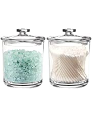 Youngever 2 Pack 15 Ounce Dispenser Holder Bathroom Vanity Organizer, Clear Plastic Apothecary Jars for Cotton Balls, Cotton Swab, Q-tips
