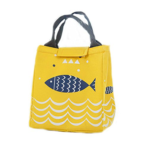 (K&A Company Fish Pattern Oxford Picnic Bag Aluminum Foil Insulation Package Waterproof Cooler Lunch Box Bag, Yellow)