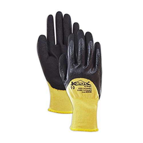 Magid Glove & Safety K8646-7 K-ROC Double-Dip Nitrile Coated Work Gloves Cut Level 4, 9, Yellow , 7 (Pack of 12) by Magid Glove & Safety (Image #3)