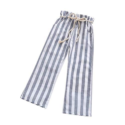 120 Elf Dvd (SUNTEAMO Children Kid Boy Girls Stripe Print Bandage Bandage Long Pants Casual Trousers (Gray, 120))
