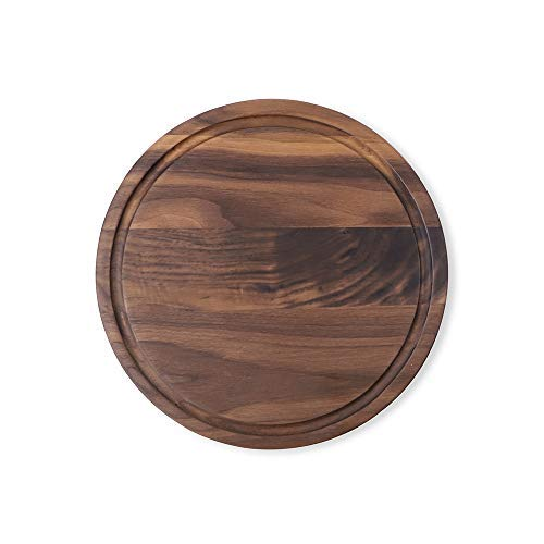 (Muso Wood Round Walnut Wood Cutting Board,11 Inch American Walnut Cheese Serving Tray with Juice Drip Groove(Walnut, φ11x0.9))