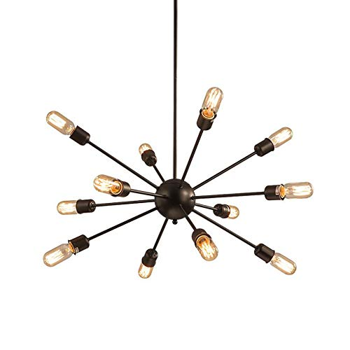 YXTK Modern Sputnik Chandelier Black, Ceiling Light Pendant Simply Stunning Effect for Kitchen Dining Room Bedroom Hotel Hall(Without Bulb), 12 Heads
