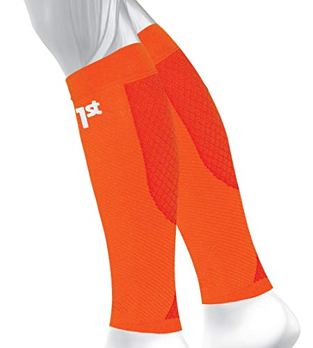 OS1st CS6 Performance Calf Sleeve reduces leg fatigue, promotes circulation, enhances recovery and relieves Shin Splint pain in a light breathable moisture-wicking fabric (Orange, Medium)