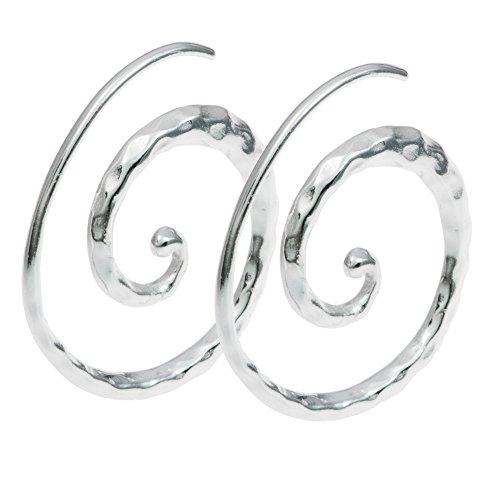 Dreambell 925 Sterling Silver Whirl Coil Hammered Wire Earring - French Sterling Wire Silver Hammered