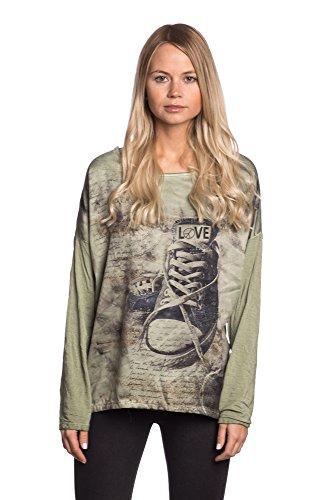 Abbino A1777 Camisas Tops para Mujeres - Hecho en ITALIA - 5 Colores - Entretiempo Primavera Verano Otoño Mujeres Femeninas Elegantes Formales Casual Vintage Oficina Fiesta Rebajas - Talla única Verde