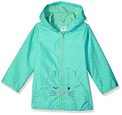 Carter's Girls' Little Favorite Rainslicker Raincoat, Mint Mouse with dot, 4 ()