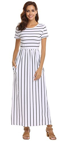 Striped Maxi Dress (SimpleFun Womens Summer Casual Short Sleeve Striped Plus Size Long Dress Pleated Loose Maxi Dress with Pockets(White)