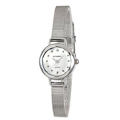 Gets Women Small Strap Slim Mesh Wrist Watch Business Simple Designer Quartz Bangle Watch (Silver)