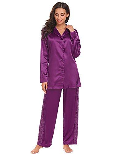 Brushed Back Satin Pajamas (Vansop Women's Pajamas, Cotton Pajama Set, Thin Long Sleeve Sleepwear Loungewear For Women Girl)