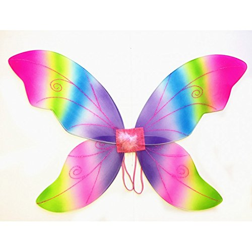 - Cutie Collection Costume Fairy Wings - Large (34in) Pixie Princess Dress up Wings By (Adult, Black) (RAINBOW)