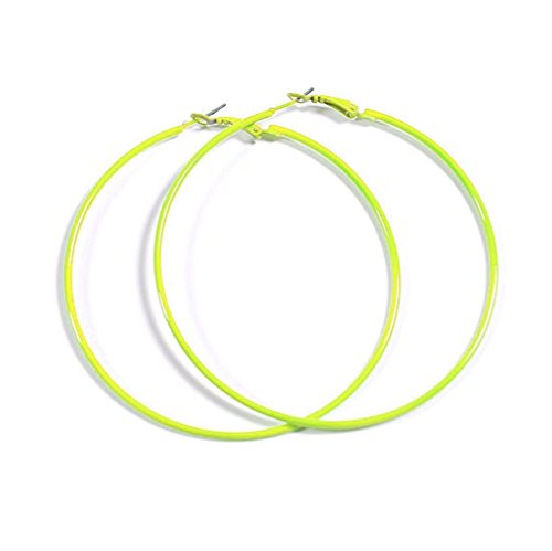 NEON OPTIC LIME YELLOW Hoop Earrings 50mm Circle Size - Bright Flourescent, Vibrant Colors ()
