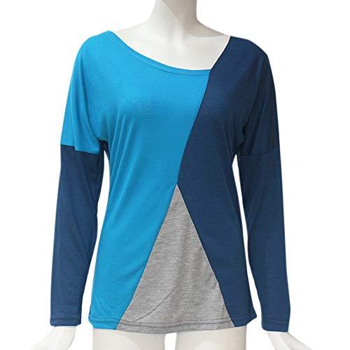 contrasto blu casual a Stampa rotondo cucire scollo estive magliette shirt a Top lunghe Donna T belasdla con da scuro maniche a lunghe maniche eleganti 8ZSBpq