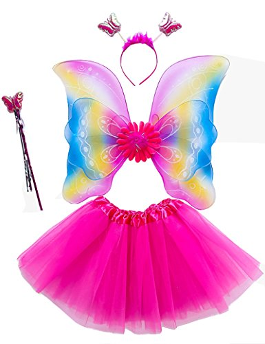 Rainbow Fairy Adult Costumes (Lujuny Rainbow Fairy Wing Costume Set - Butterfly Wings, Tutu, Wand and Headband (RAINBOW ROSERED))