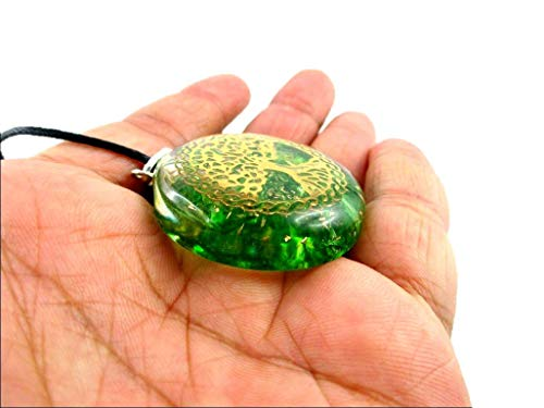 Orgone Key Chain - HiJet Beautiful Green Onyx Tree of Life Orgonite Key Ring Orgone Generator Balancing Positive Energy Harmony Luck Yoga Meditation Reiki Natural Genuine Authentic Fashion Style -