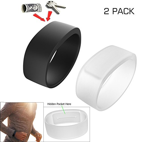 Running Jogging Swimming or Other Outdoor Activities Black, Size L Storage for Keys or Money during Sports High-Quality Fitness Silicone Key Wristband Bracelet Water-Resistant