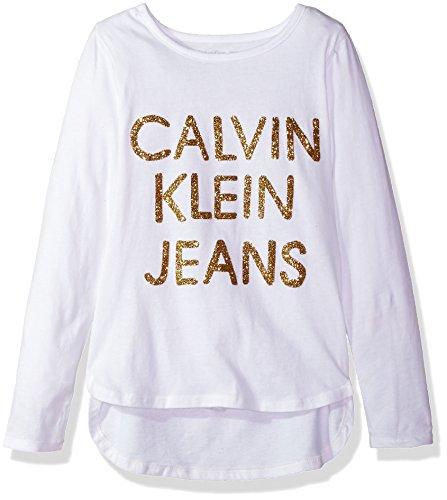 Calvin Klein Girls' Big Dispersed Glitter Logo Tee, White, Large (12/14) ()