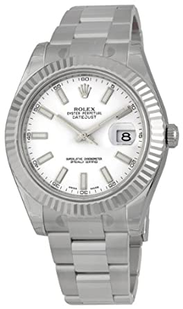 amazon com rolex datejust ii white dial 18k white gold stainless rolex datejust ii white dial 18k white gold stainless steel oyster bracelet mens watch 116334wso