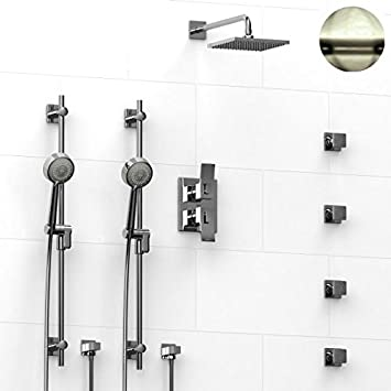 riobel zendo shower system with jets brushed nickel