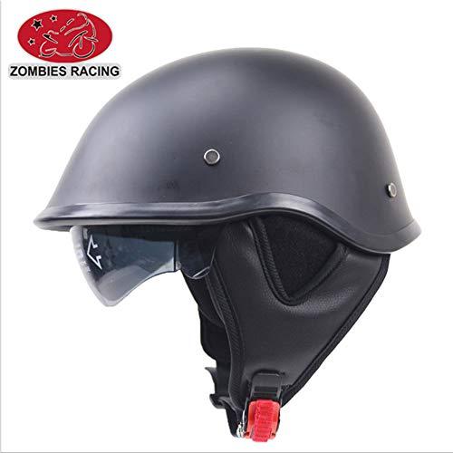 Street Leather Legal (Shfmx Motorcycle Anti-Collision Retro Harley Half Helmet, DOT Certified Scooter Pilot Jet Half Half face Helmet with Sun Visor,XXL)