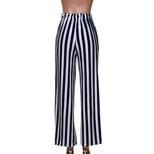 Comfy Stripes Pants (BallsFHK Women Mid Waist Wide Leg Pant, Casual Stripe Printed Straight Long Palazzo Loose Comfy Pants (Navy, L))