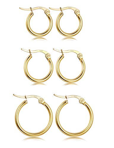 Fiasaso 3 Pairs 925 Sterling Silver Small Hoop Earrings For Women Girls Round Huggie Clip On Hoop Earrings Set 12MM 15MM 20MM Gold