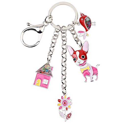 (Bonsny Enamel Alloy Chain Chihuahua Dog Key Chains For Women Car Purse Handbag Charms Jewelry Gifts (Red))