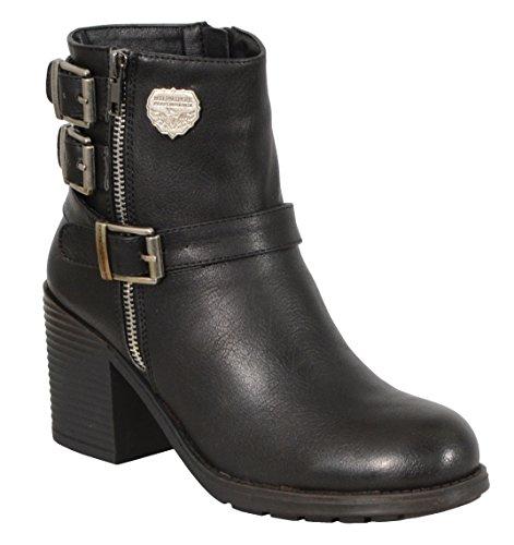 Milwaukee Performance Women's Triple Buckle Side Zip Boots with Platform Heel (Black, Size 10)