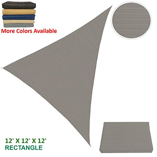 Eden's Decor Sun Shade Sail Triangular Outdoor with Durable Thick Air-Permeable UV Block Fabric for Patio Outdoor Backyard, Driveway Fence Deck Carport and Swimming Pool 12' X 12' X 12' - Fence Canvas