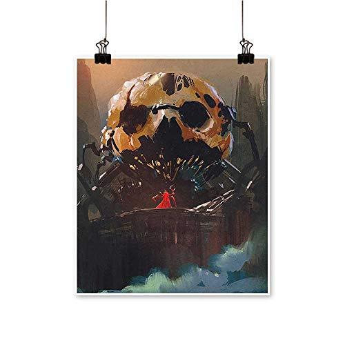 Artwork for Office DecorationsHouse Wizard Villain Standing ito a Skull Skeleton Dark Supernatural Powers Multi Canvas Living Room,16