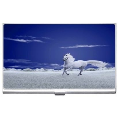New Horse Field Of White Business Credit Card Holder Case