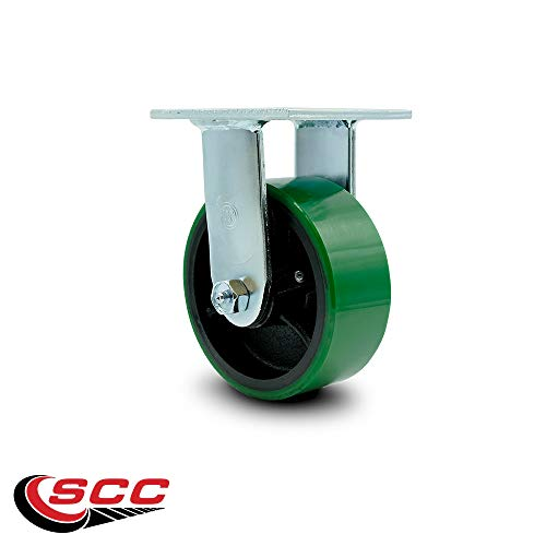 Service Caster - 5'' x 2'' Polyurethane Wheel Caster Set - Green on Black - 2 Swivel w/Brakes/2 Rigid - Non Marking - 4,000 Lbs Total Capacity - Set of 4 by Service Caster (Image #4)