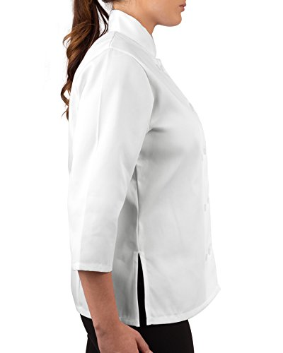 KNG Womens White Classic ¾ Sleeve Chef Coat, S by KNG (Image #3)