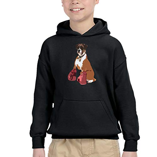 AIDEAR Boxer Dog Boys' Long Sleeve Hoodie Sweatshirt 39