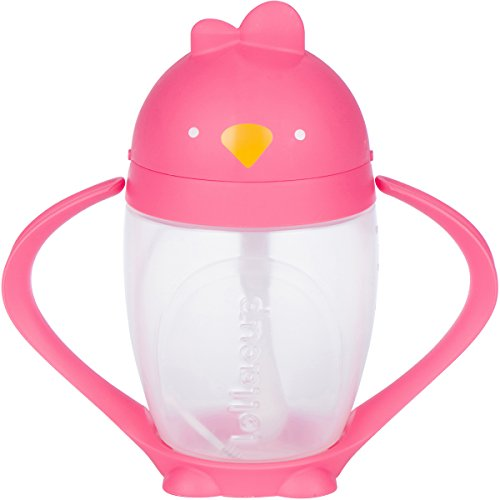 Lollaland Lollacup - Infant/Toddler Sippy Cup with Weighted Straw - Pink - Made in USA - BPS/BPA/Phthalate Free- FDA Approved - Valve Free - Detachable Handle