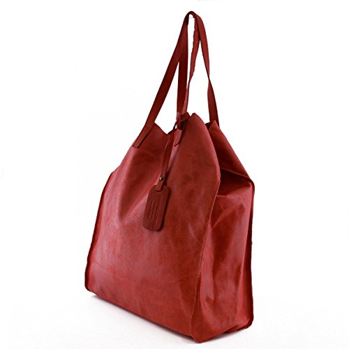 Maroquinerie Shopper Italie En Sac Pochette Véritable Cuir Rouge Femme Fait Couleur Intérieure Avec z4dHHqg