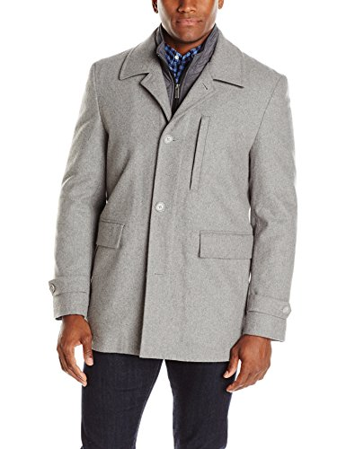 Nick Graham Men's Upper West Side Wool Bib Front Car Coat, Smoke, X-Large - Quilted Car Coat