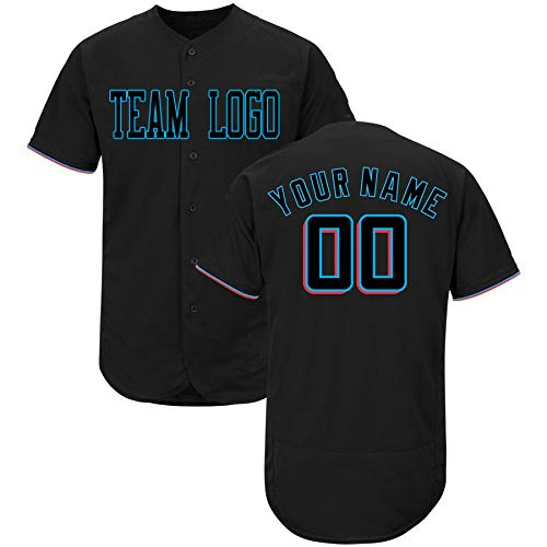 2zbrothers Custom Baseball Jersey Full Button DIY Design Your College Team T-Shirt Sew Logo Name Number Men Women Youth Miami Color3 XL