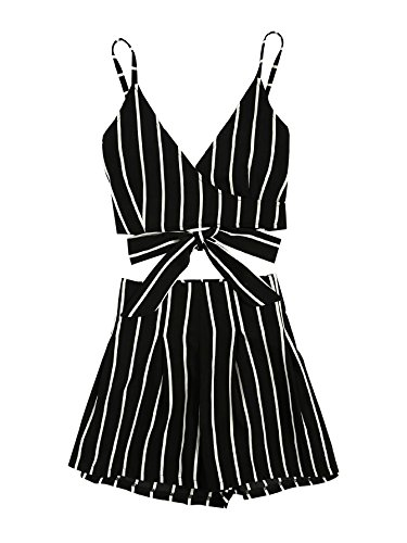 MakeMeChic Women's 2 Piece Outfit Summer Striped V Neck Crop Cami Top with Shorts Black (High Back V-neck Top)
